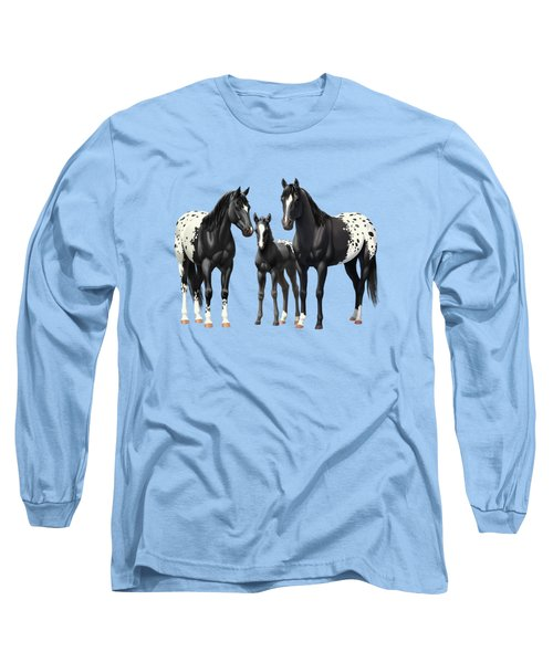 Black Appaloosa Horses In Winter Pasture Long Sleeve T-Shirt