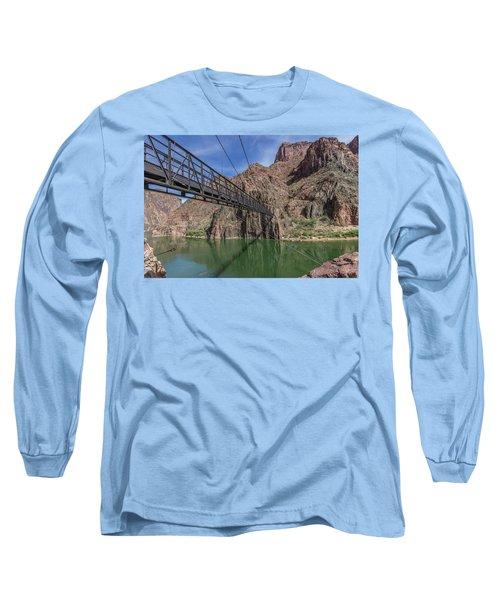 Black Bridge Over The Colorado River At Bottom Of Grand Canyon Long Sleeve T-Shirt