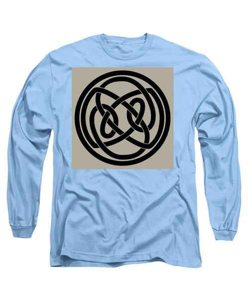 Long Sleeve T-Shirt featuring the digital art Black Celtic Knot by Jane McIlroy
