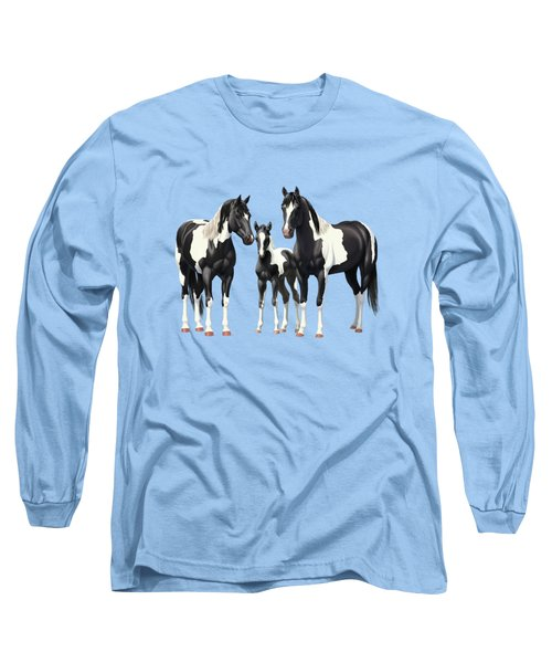 Black Paint Horses In Winter Pasture Long Sleeve T-Shirt