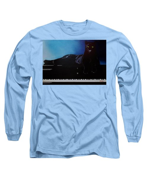Black Panther And His Piano Long Sleeve T-Shirt by Manuel Sanchez