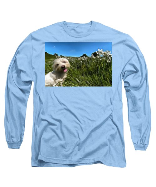 Blooming Daffodils In The Antola Park With Maltese II Paint Long Sleeve T-Shirt