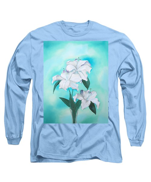 Long Sleeve T-Shirt featuring the mixed media Blue And White by Elizabeth Lock