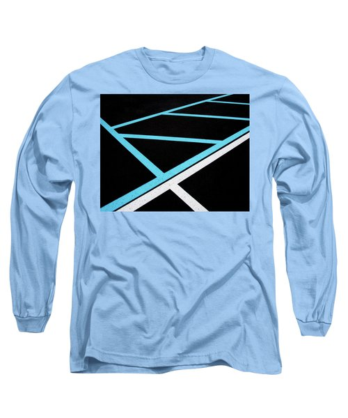 Blue And White Traffic Line Neighbors Long Sleeve T-Shirt by Gary Slawsky
