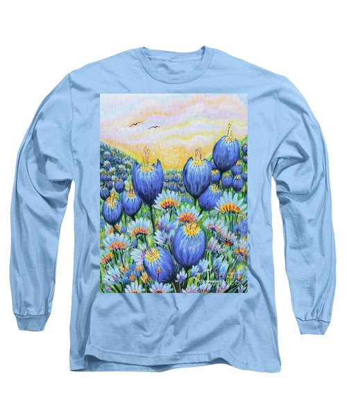 Long Sleeve T-Shirt featuring the painting Blue Belles by Holly Carmichael