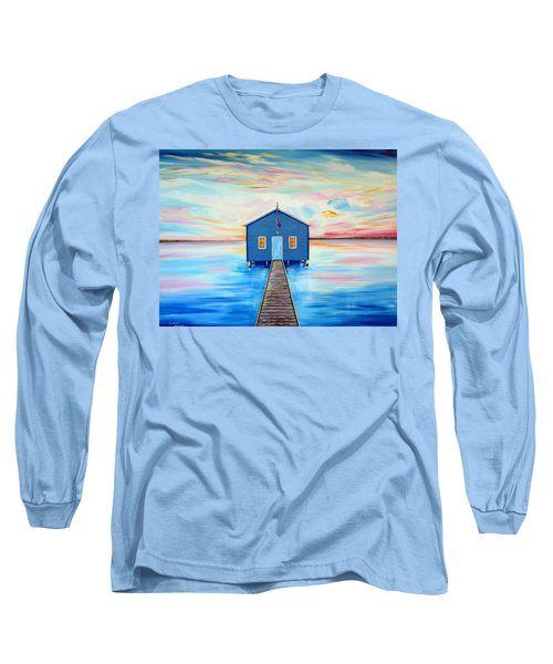 Blue Boat Shed By The Swan River Perth Long Sleeve T-Shirt