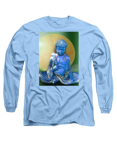 Long Sleeve T-Shirt featuring the photograph Blue Buddha Figurine by Ginny Schmidt