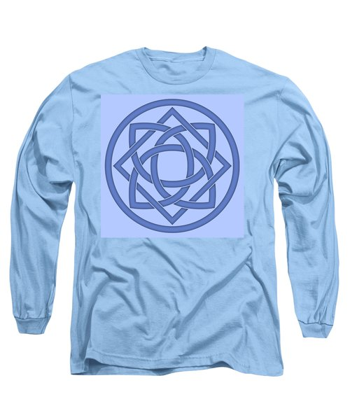 Long Sleeve T-Shirt featuring the digital art Blue Celtic Knot by Jane McIlroy