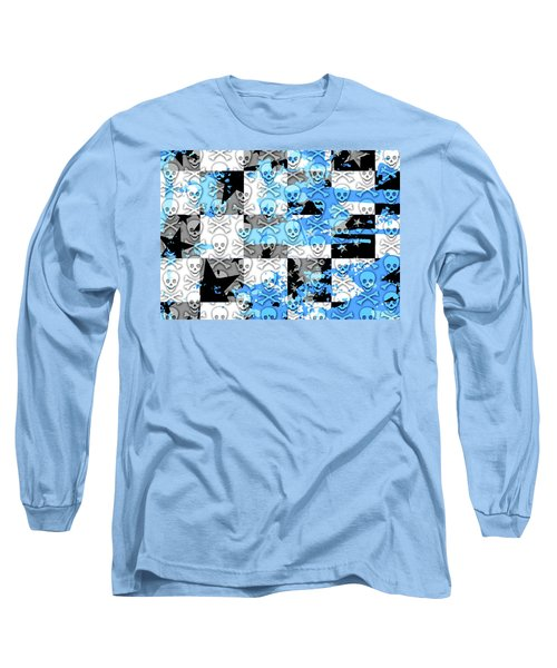 Blue Checker Skull Splatter Long Sleeve T-Shirt by Roseanne Jones