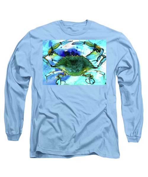 Blue Crab - Abstract Seafood Painting Long Sleeve T-Shirt