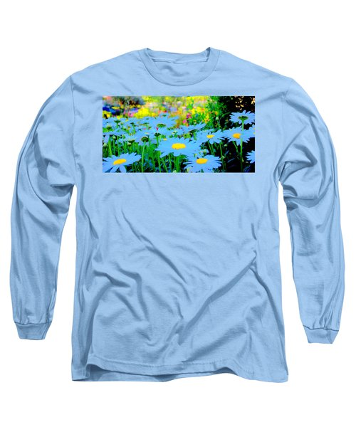 Long Sleeve T-Shirt featuring the mixed media Blue Daisy by Terence Morrissey