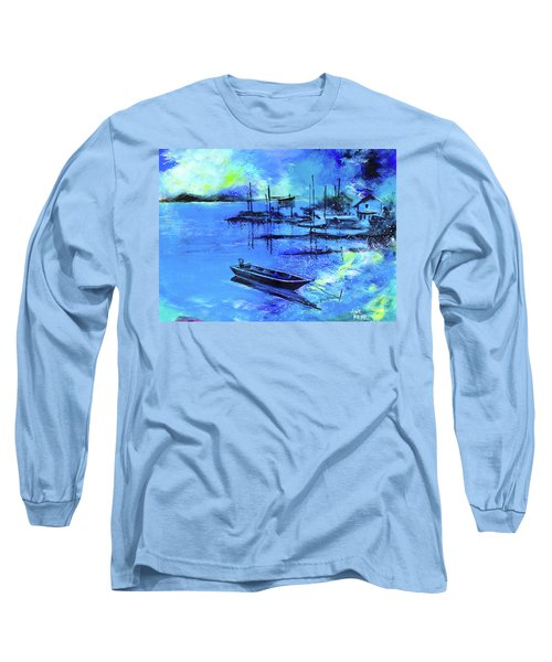 Long Sleeve T-Shirt featuring the painting Blue Dream 2 by Anil Nene