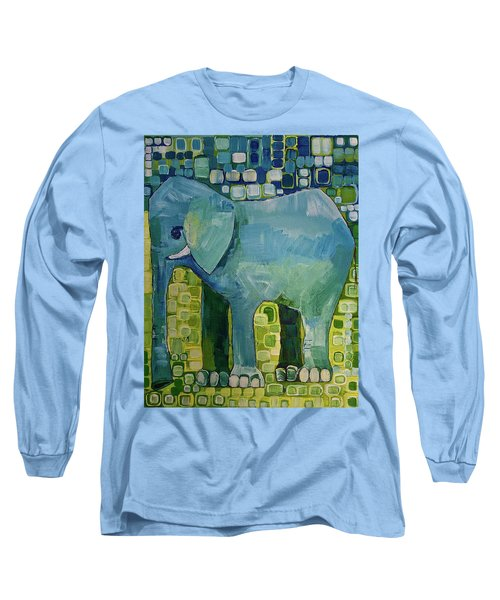 Long Sleeve T-Shirt featuring the painting Blue Elephant by Donna Howard
