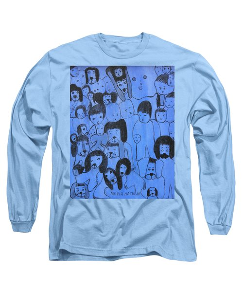 Blue Faces Long Sleeve T-Shirt by Maria Iliou