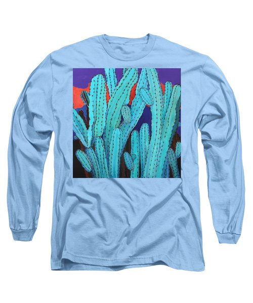 Long Sleeve T-Shirt featuring the painting Blue Flame Cactus Acrylic by M Diane Bonaparte