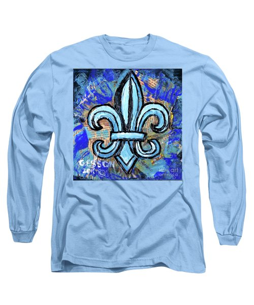 Long Sleeve T-Shirt featuring the mixed media Blue Fleur De Lis by Genevieve Esson