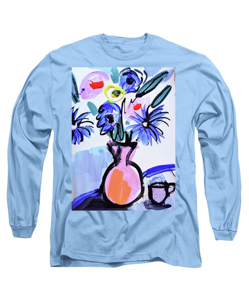 Blue Flowers And Coffee Cup Long Sleeve T-Shirt by Amara Dacer