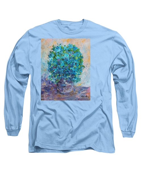 Blue Flowers In A Vase Long Sleeve T-Shirt by AmaS Art