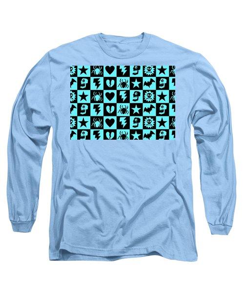 Blue Goth Punk Checkers Long Sleeve T-Shirt