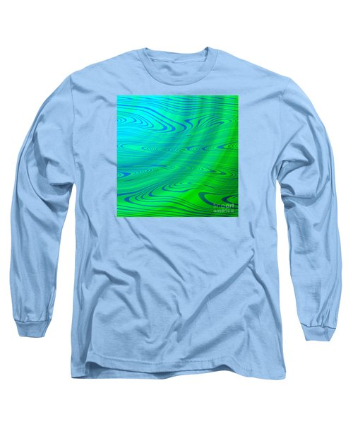 Blue Green Distort Abstract Long Sleeve T-Shirt