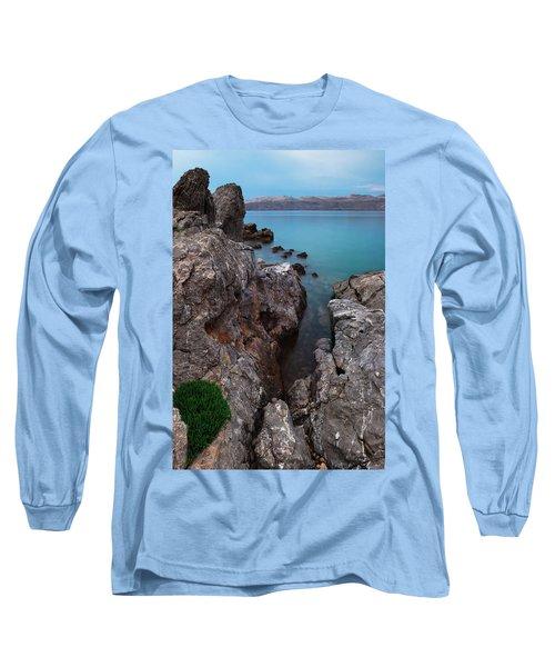 Blue, Green, Gray Long Sleeve T-Shirt