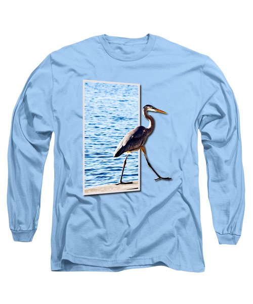 Blue Heron Strutting Out Of Frame Long Sleeve T-Shirt by Roger Wedegis