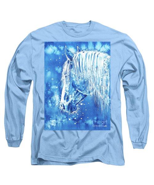 Long Sleeve T-Shirt featuring the painting Blue Horse by Zaira Dzhaubaeva