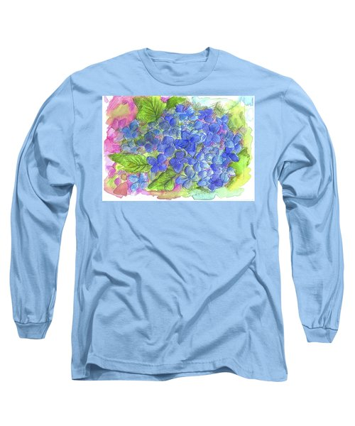 Long Sleeve T-Shirt featuring the painting Blue Hydrangea by Cathie Richardson