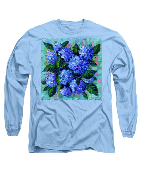Blue Hydrangeas - Abstract Floral Composition Long Sleeve T-Shirt