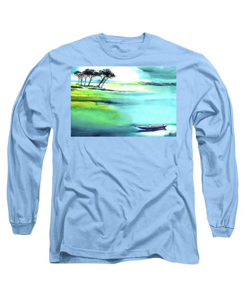 Long Sleeve T-Shirt featuring the painting Blue Lagoon by Anil Nene