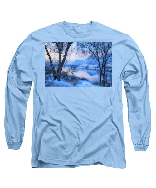 Blue Landscape Long Sleeve T-Shirt by Theresa Tahara