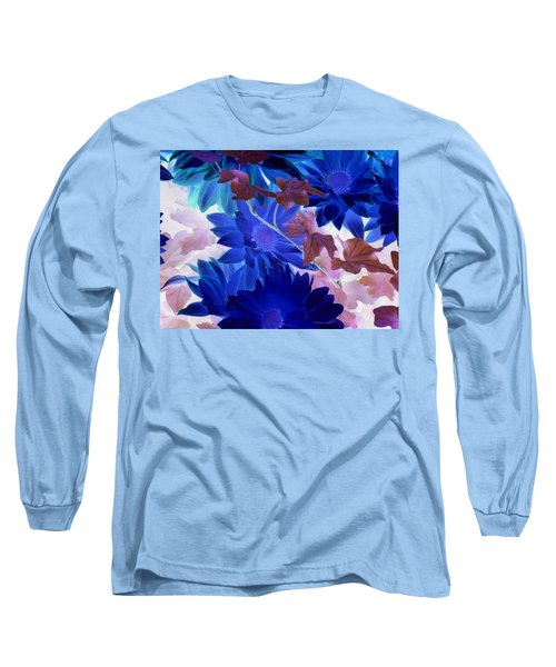 Blue Mums With Purple Ivy Long Sleeve T-Shirt