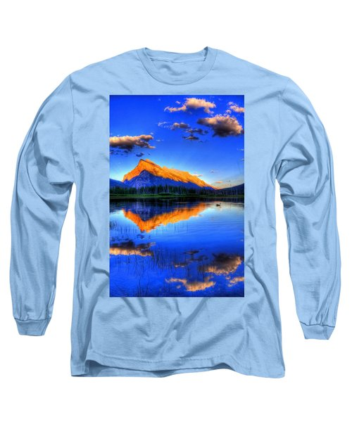 Blue Orange Mountain Long Sleeve T-Shirt by Test Testerton