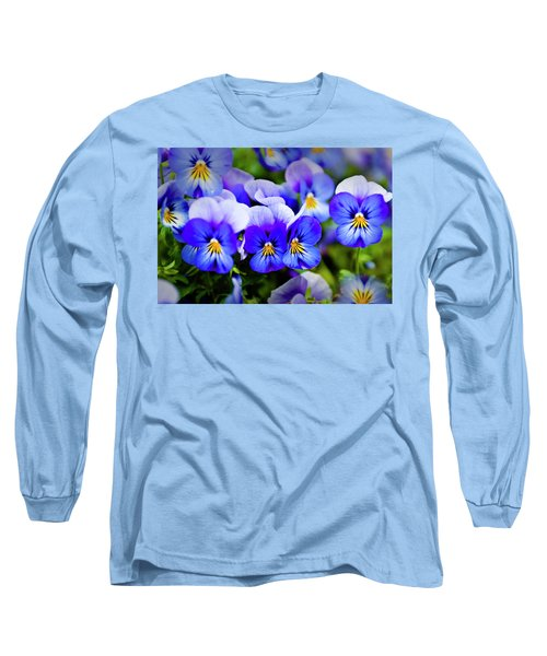 Long Sleeve T-Shirt featuring the photograph Blue Pansies by Tamyra Ayles