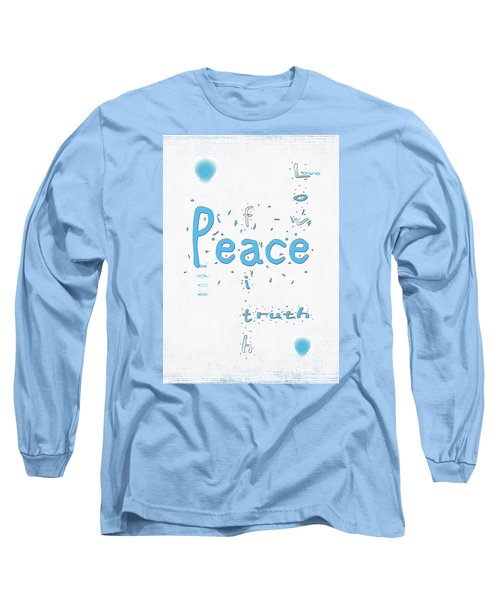 Long Sleeve T-Shirt featuring the digital art Blue Peace by Linda Prewer