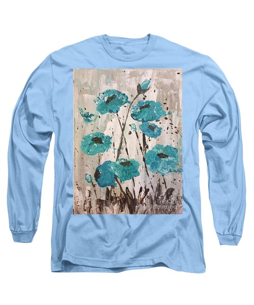 Long Sleeve T-Shirt featuring the painting Blue Poppies by Lucia Grilletto