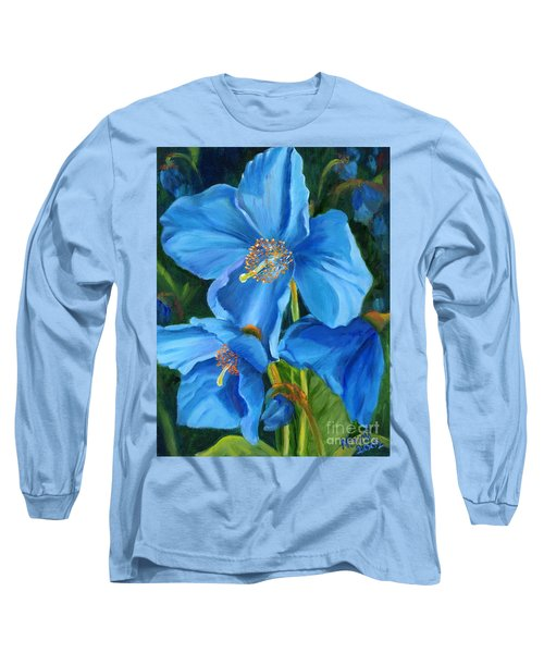 Blue Poppy Long Sleeve T-Shirt by Renate Nadi Wesley