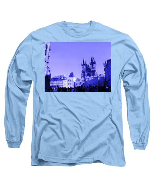 Long Sleeve T-Shirt featuring the photograph Blue Praha by Michelle Dallocchio