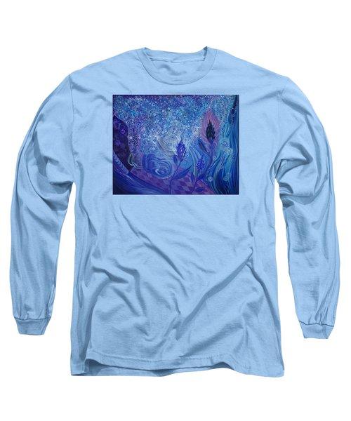 Blue Rosebud Ballroom Long Sleeve T-Shirt by Adria Trail