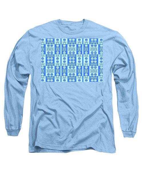 Blue Skull And Crossbones Pattern Long Sleeve T-Shirt