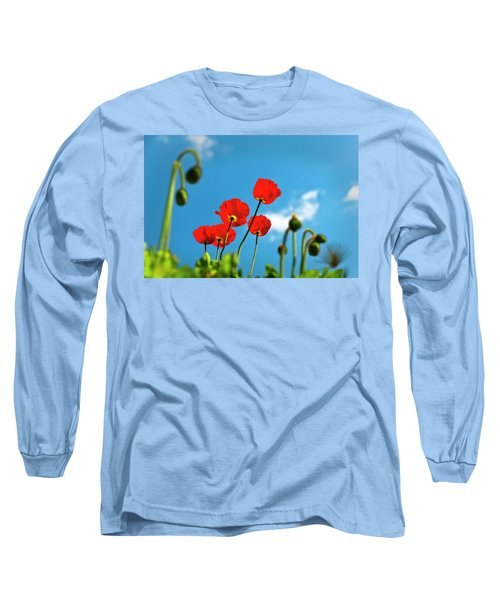 Long Sleeve T-Shirt featuring the photograph Blue Sky And Poppies by Tamyra Ayles