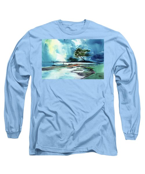 Long Sleeve T-Shirt featuring the painting Blue Sky by Anil Nene