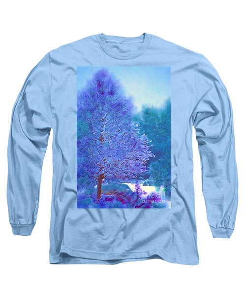 Blue Snow Scene Long Sleeve T-Shirt by Donna Bentley