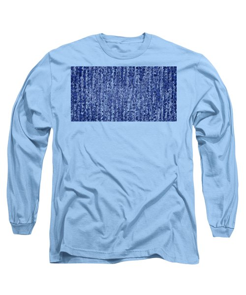 Blue Squared Code Long Sleeve T-Shirt by Anton Kalinichev