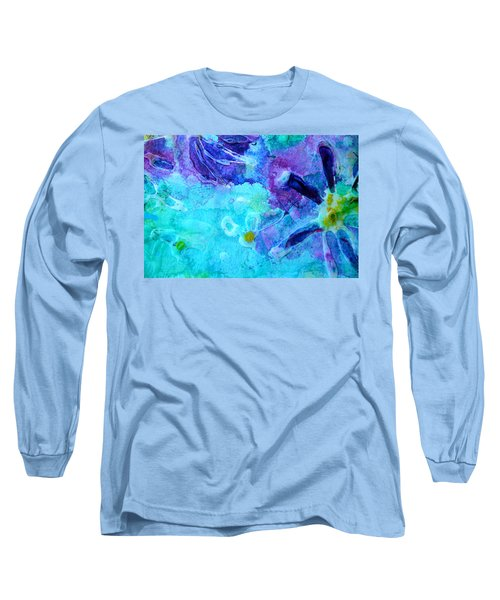 Blue Water Flower Long Sleeve T-Shirt