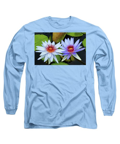 Long Sleeve T-Shirt featuring the photograph Blue Water Lilies by Judy Vincent