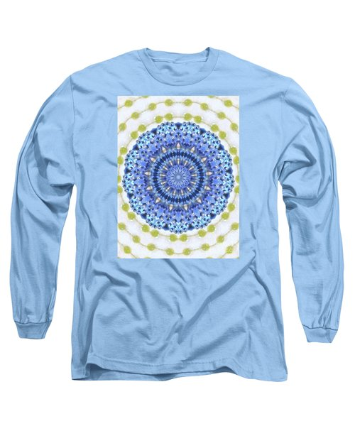 Blue With Green Dots Long Sleeve T-Shirt