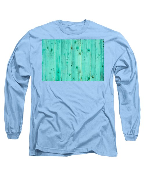 Blue Wooden Planks Long Sleeve T-Shirt by John Williams