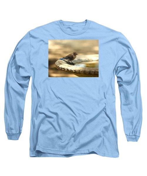 Long Sleeve T-Shirt featuring the photograph Bluebird Bath Time by Sheila Brown