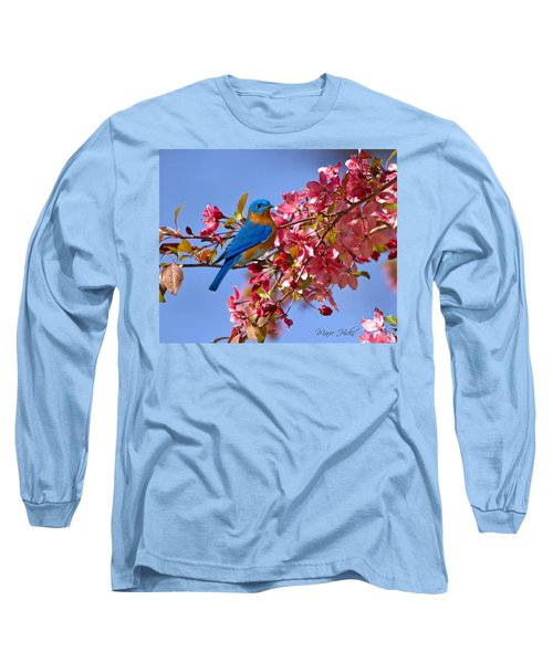 Bluebird In Apple Blossoms Long Sleeve T-Shirt by Marie Hicks
